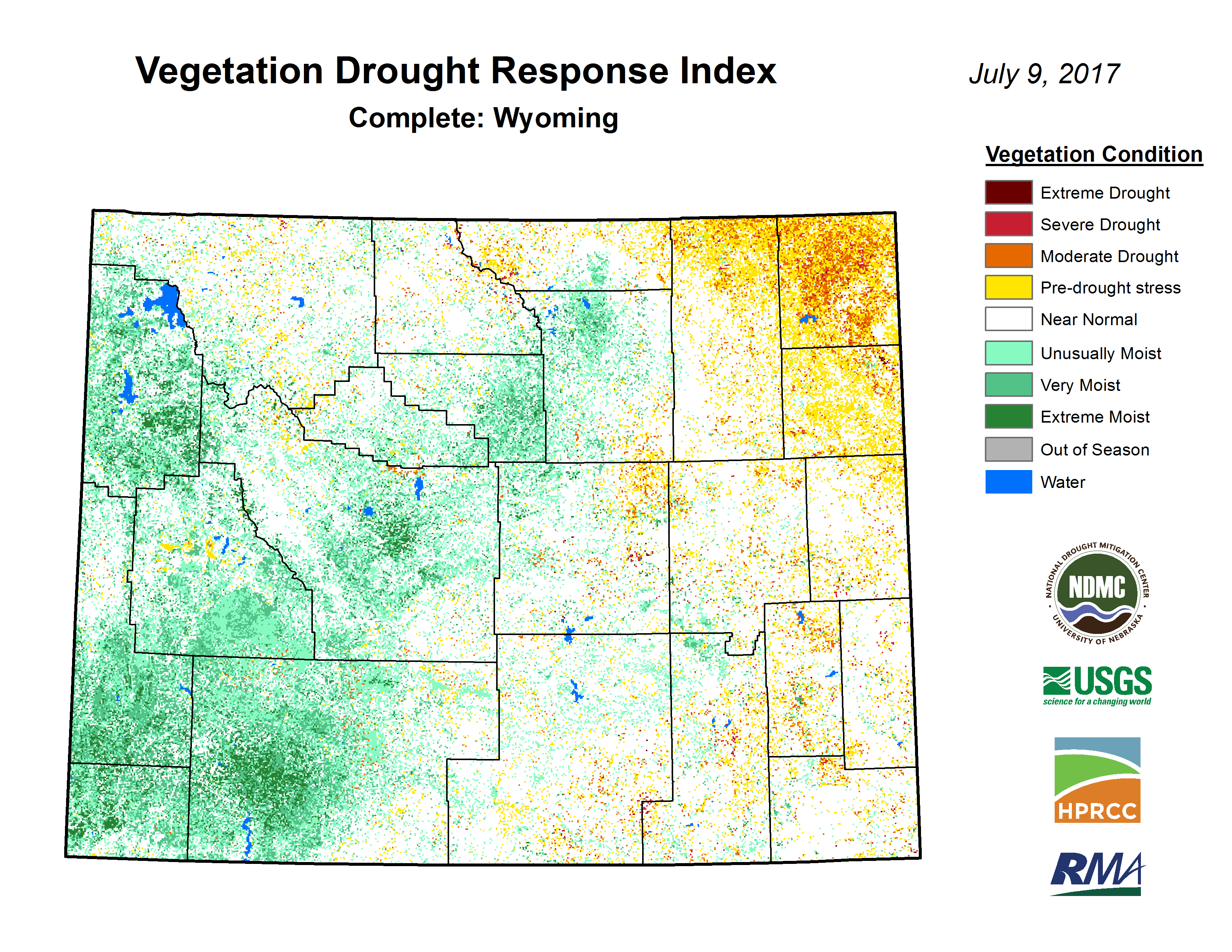 Vegetation Drought Response Index - Click to Enlarge