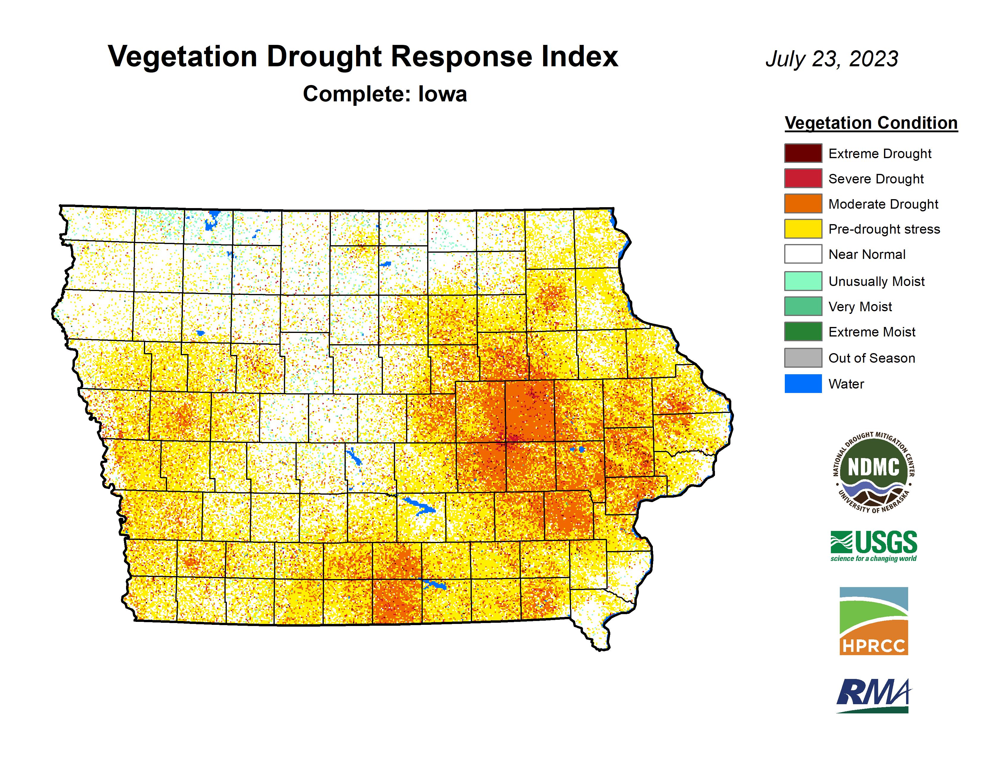 Vegetation Drought Response Index (VegDRI), complete, Iowa