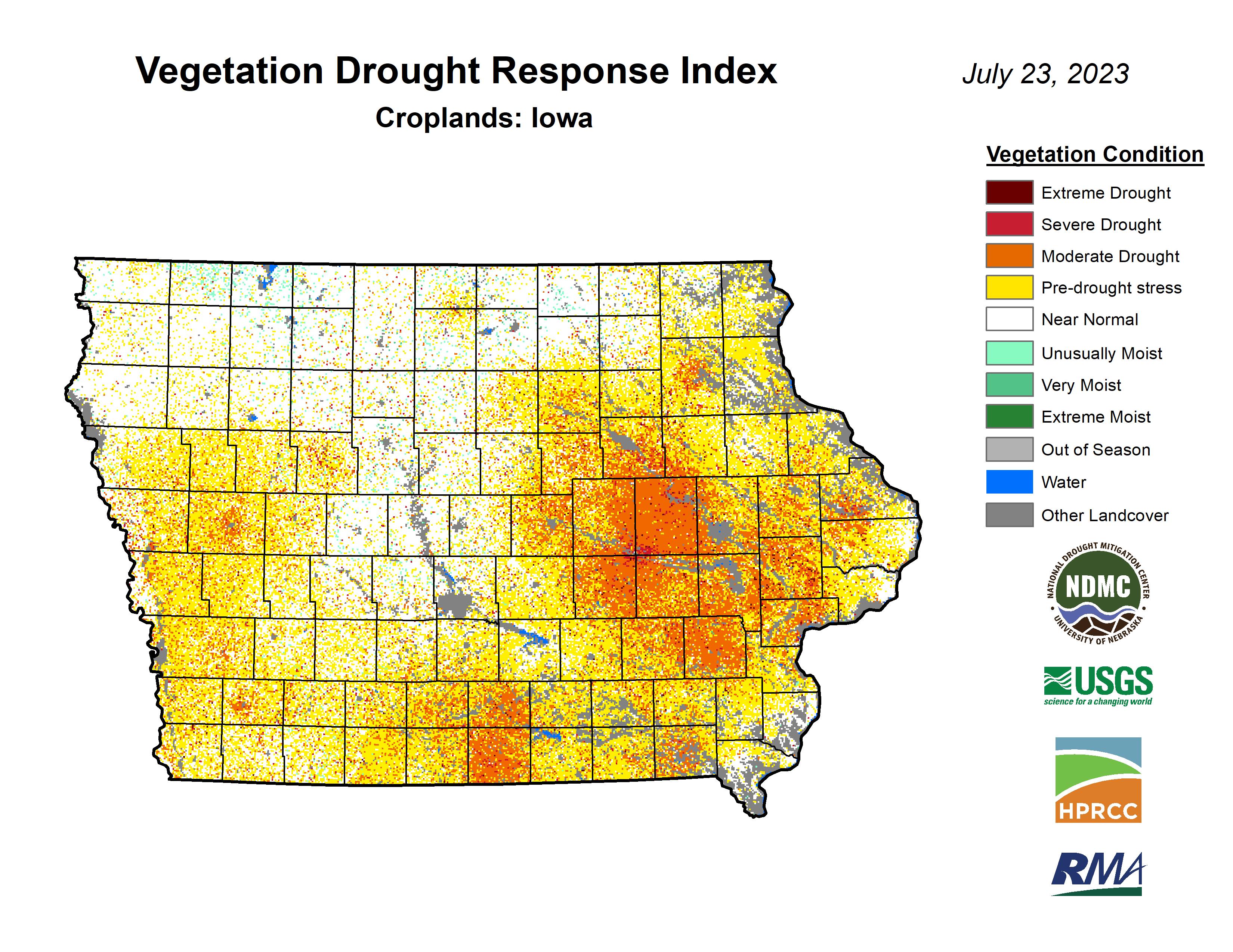 Vegetation Drought Response Index (VegDRI), crops, Iowa
