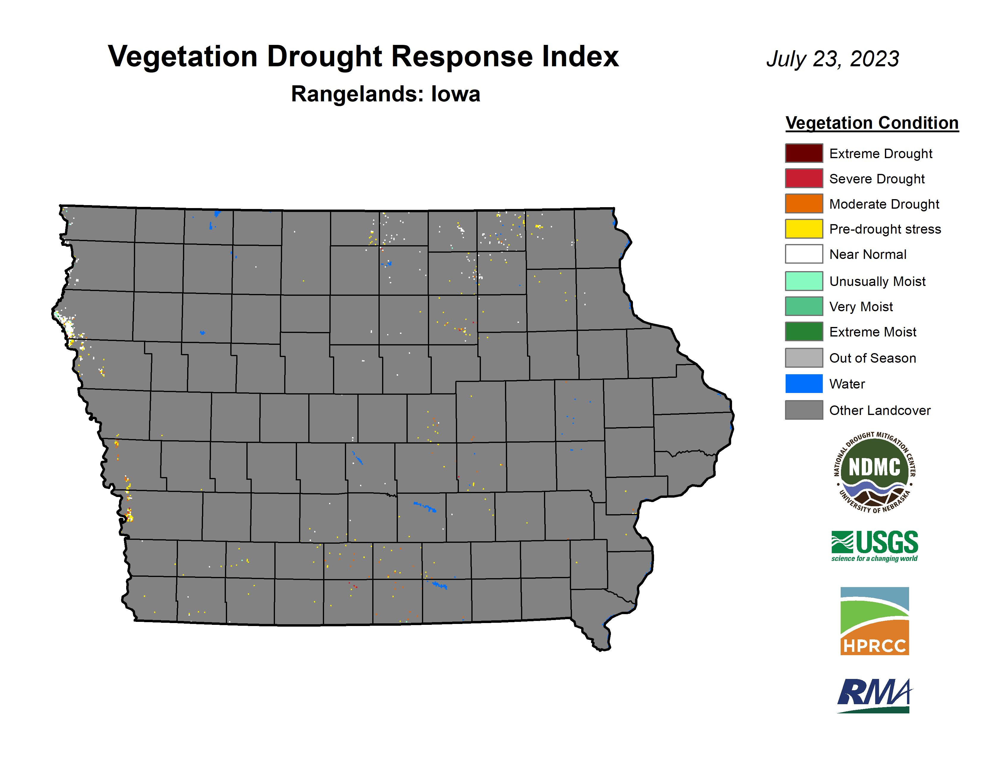 Vegetation Drought Response Index (VegDRI), rangeland, Iowa