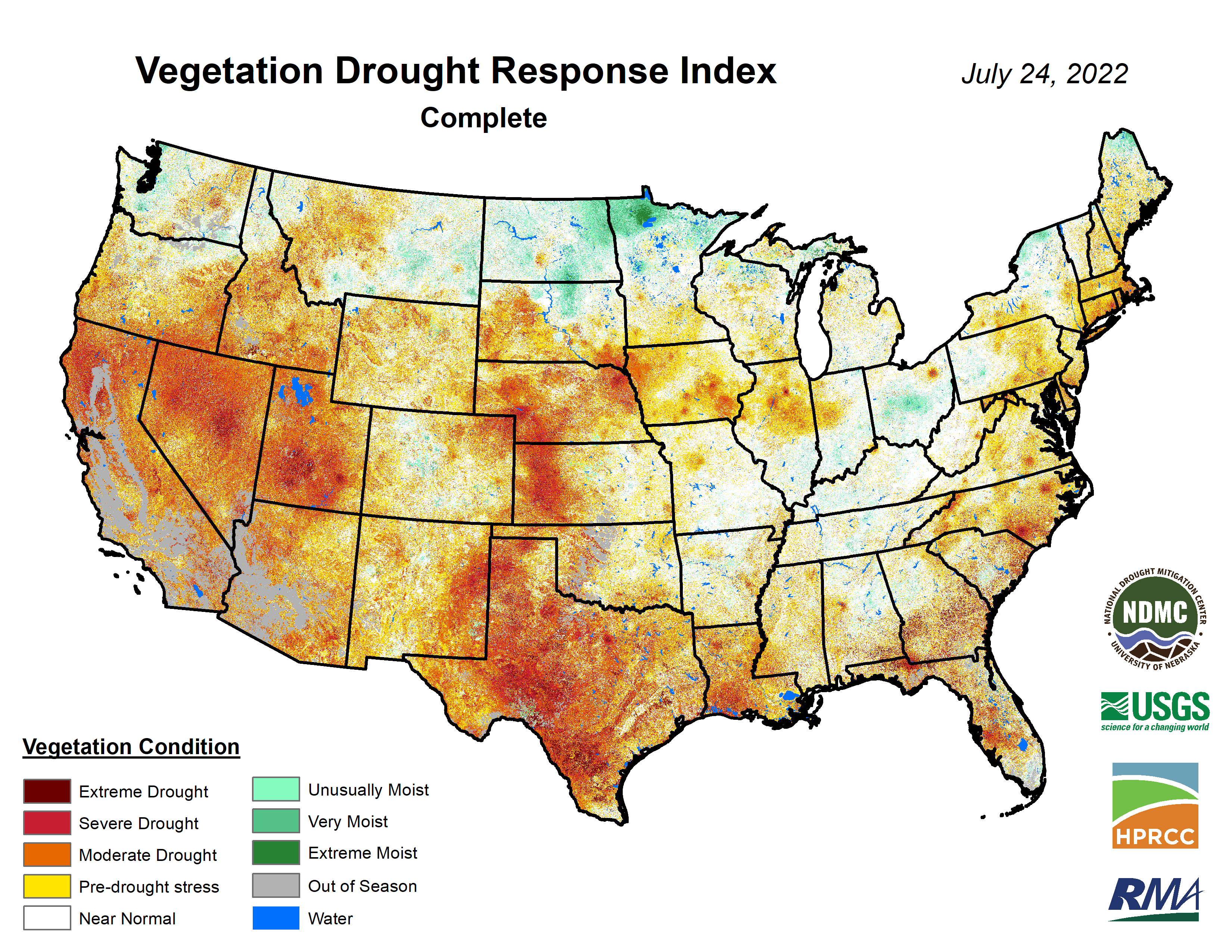 sample Vegetation Drought Response Index map